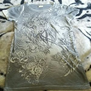 Daytrip Cross Rose Rhinestone Print T-Shirt